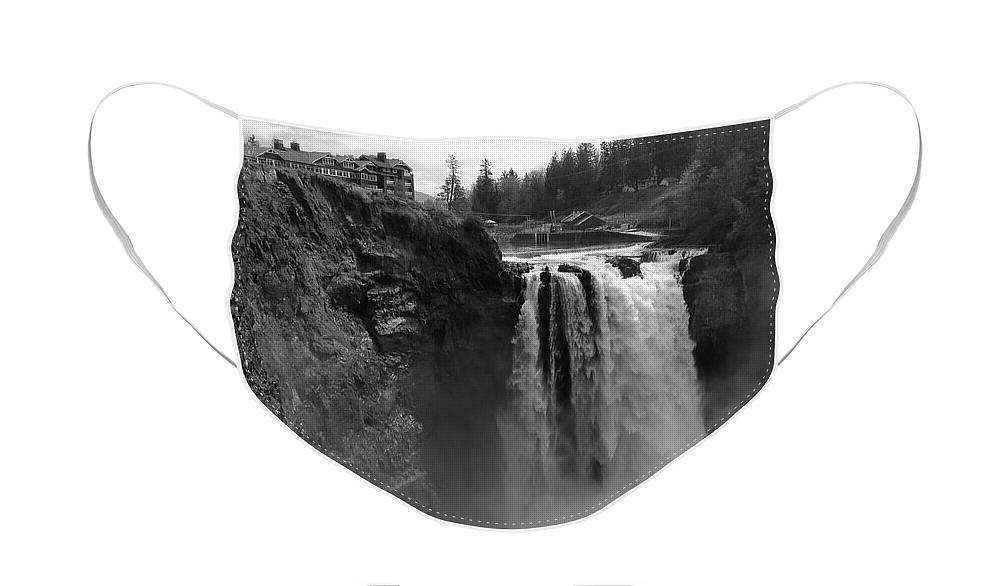 Black And White Face Mask featuring the photograph Snoqualmie Falls Lodge and Waterfall - Black and White by Carol Groenen
