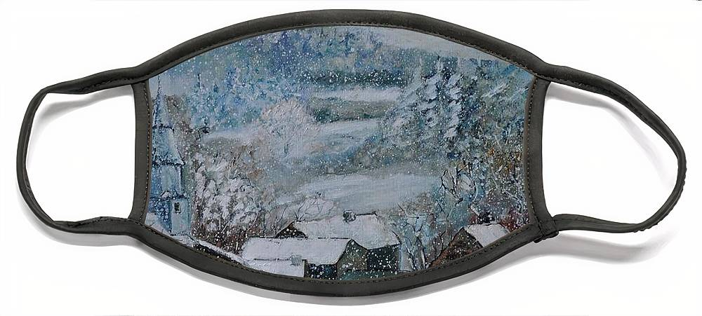 Landscape Face Mask featuring the painting Snow in Ouroy by Pol Ledent