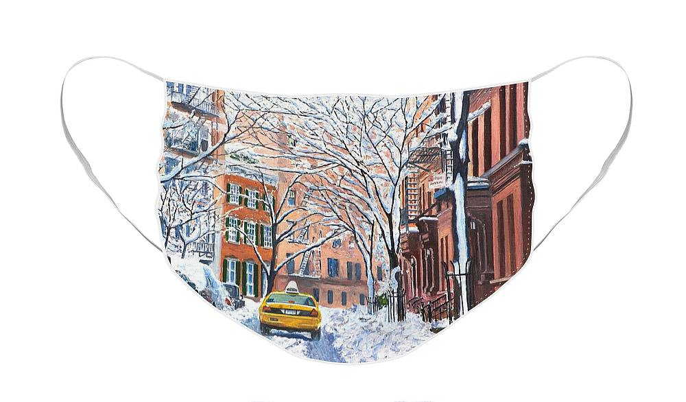 Snow Face Mask featuring the painting Snow West Village New York City by Anthony Butera