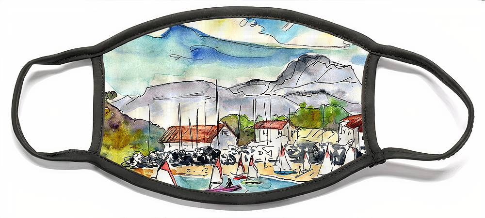 Travel Face Mask featuring the painting Socoa 02 by Miki De Goodaboom