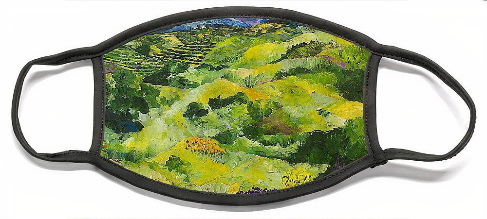 Landscape Face Mask featuring the painting Soft Grass by Allan P Friedlander