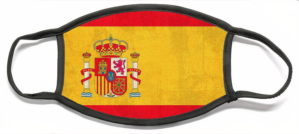 Spain Flag Vintage Distressed Finish Spanish Madrid Barcelona Europe Nation Country Face Mask featuring the mixed media Spain Flag Vintage Distressed Finish by Design Turnpike