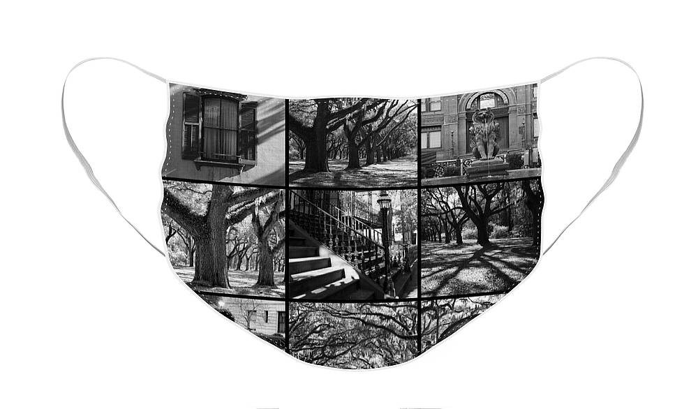 Black And White Face Mask featuring the photograph Spirit of Savannah - Black and White by Carol Groenen