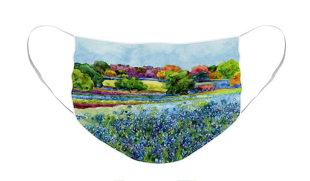 Bluebonnet Face Mask featuring the painting Spring Impressions by Hailey E Herrera