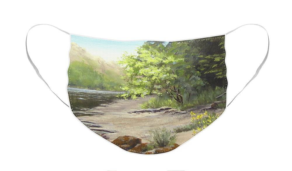 Spring Face Mask featuring the painting Spring on my Mind by Karen Ilari