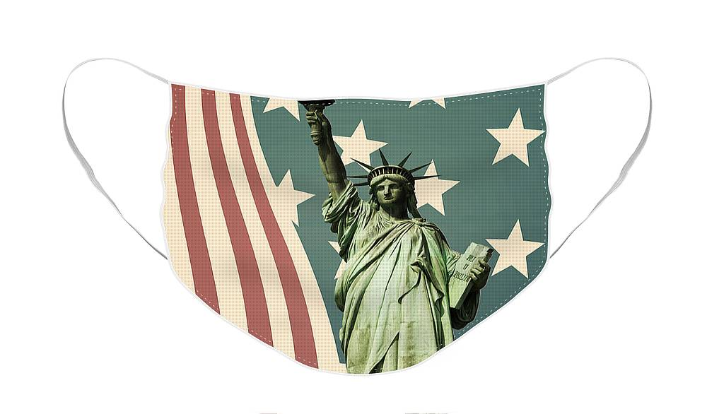 America Face Mask featuring the photograph Statue of Liberty by Juli Scalzi