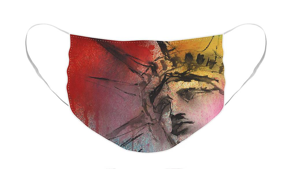 Statue Of Liberty Art Face Mask featuring the painting Statue of Liberty New York painting by Svetlana Novikova