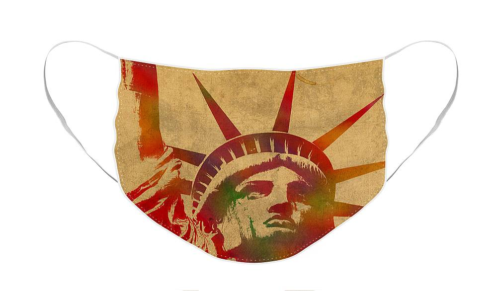 Statue Of Liberty Face Mask featuring the mixed media Statue of Liberty Watercolor Portrait No 2 by Design Turnpike
