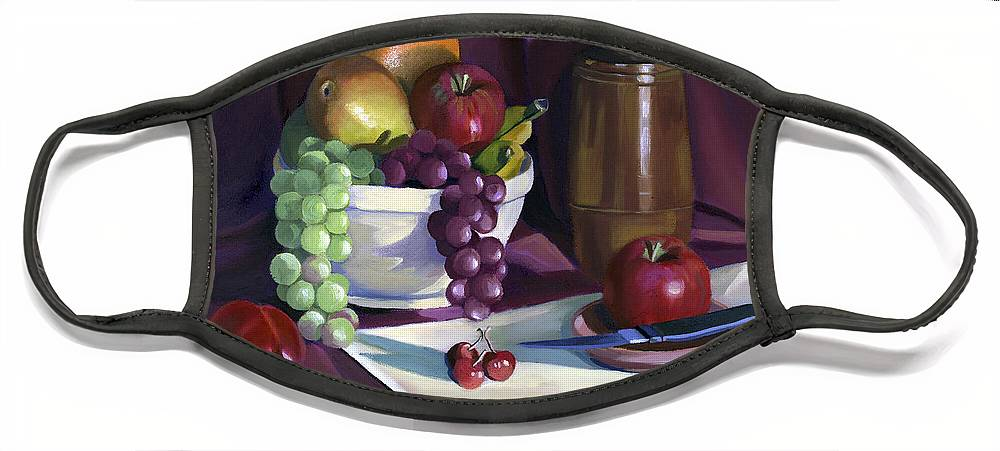 Fine Art Face Mask featuring the painting Still Life with Apples by Nancy Griswold