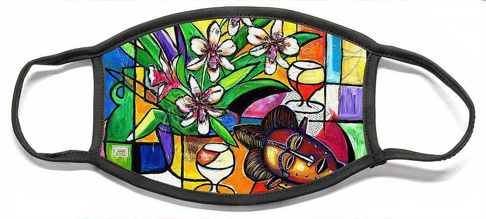 Everett Spruill Face Mask featuring the painting Still LIfe with Orchids and African Mask by Everett Spruill