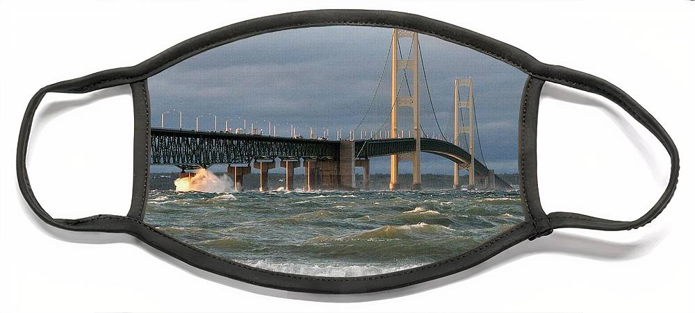 Storm Face Mask featuring the photograph Stormy Straits of Mackinac by Keith Stokes