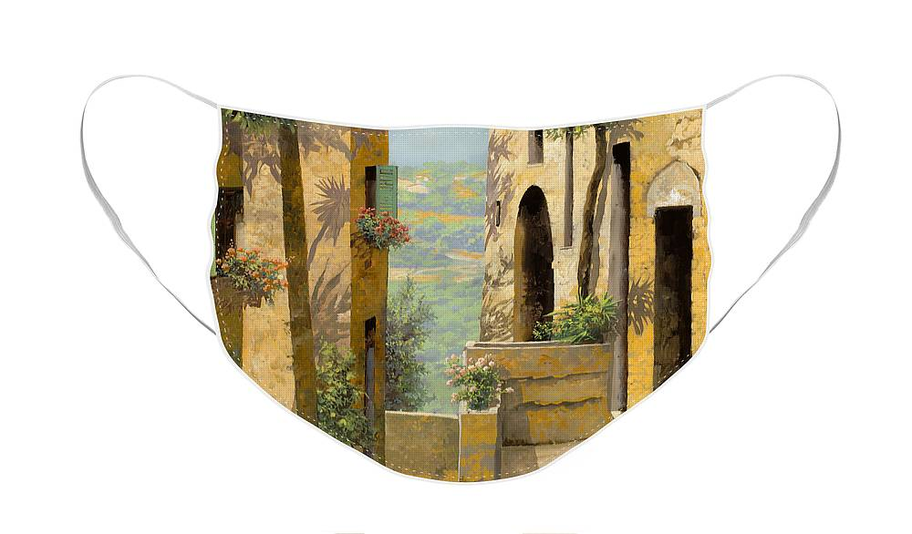 Landscape Face Mask featuring the painting stradina a St Paul de Vence by Guido Borelli