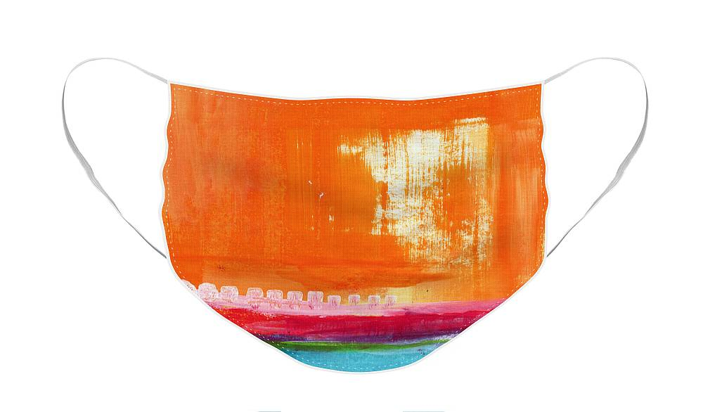 Orange Abstract Art Face Mask featuring the painting Summer Picnic- colorful abstract art by Linda Woods
