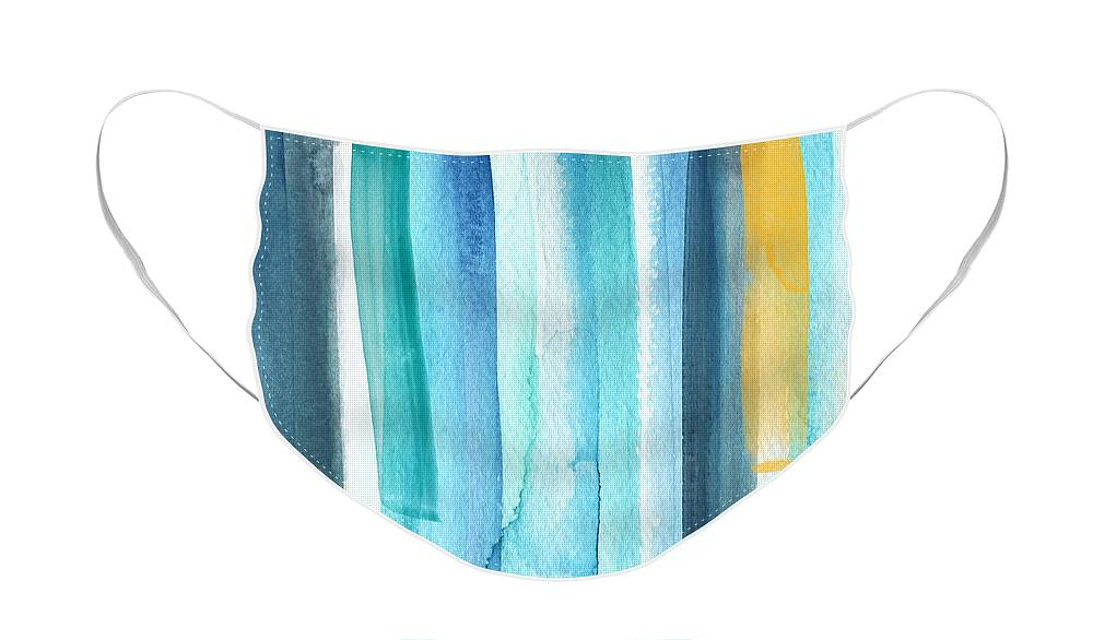 Water Face Mask featuring the painting Summer Surf- Abstract Painting by Linda Woods