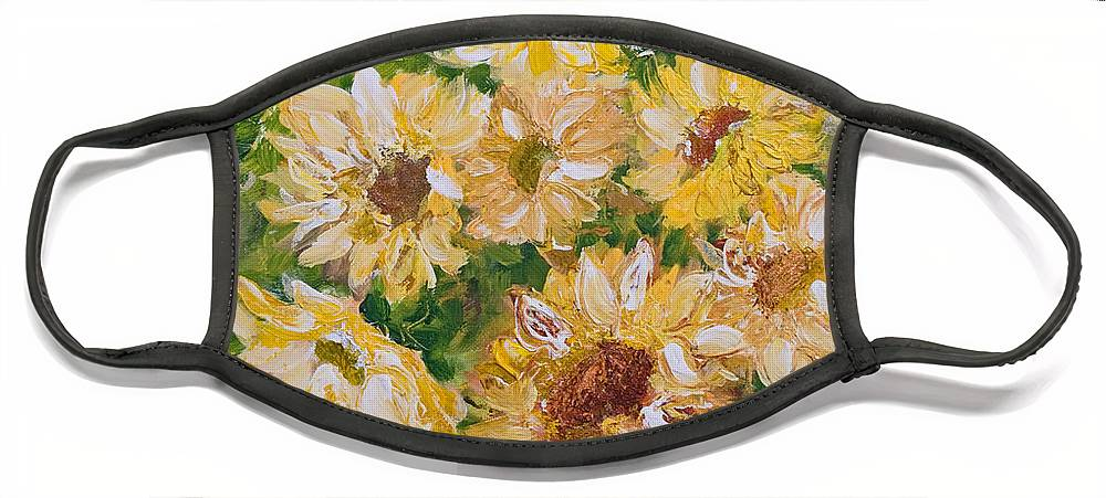 Sunflowers Face Mask featuring the painting Sunflowers Forever by Jo Smoley