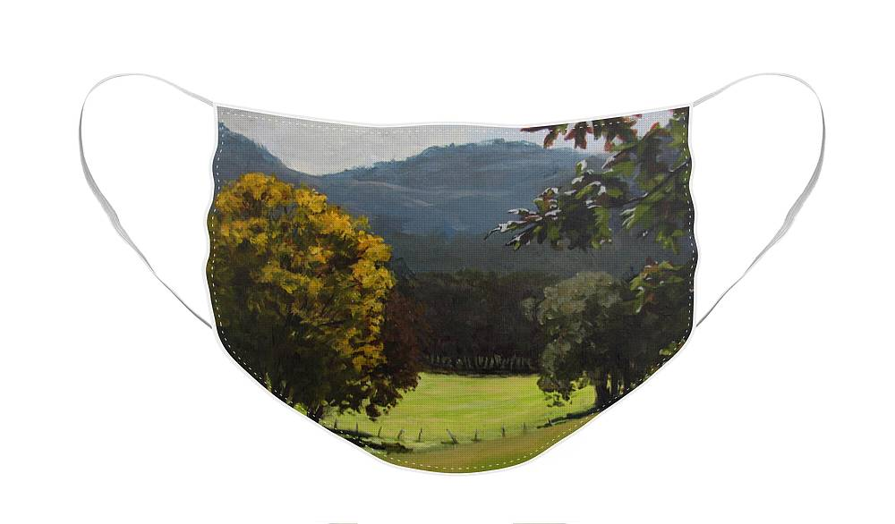 Landscape Face Mask featuring the painting Sunny Fall Day by Karen Ilari
