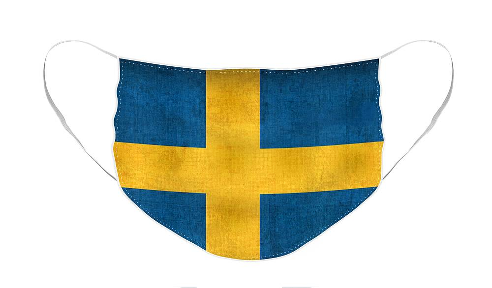 Sweden Flag Vintage Distressed Finish Face Mask featuring the mixed media Sweden Flag Vintage Distressed Finish by Design Turnpike