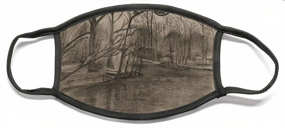 Sylvan Lake Face Mask featuring the painting Sylvan Lake Plein Aire by Sheila Mashaw