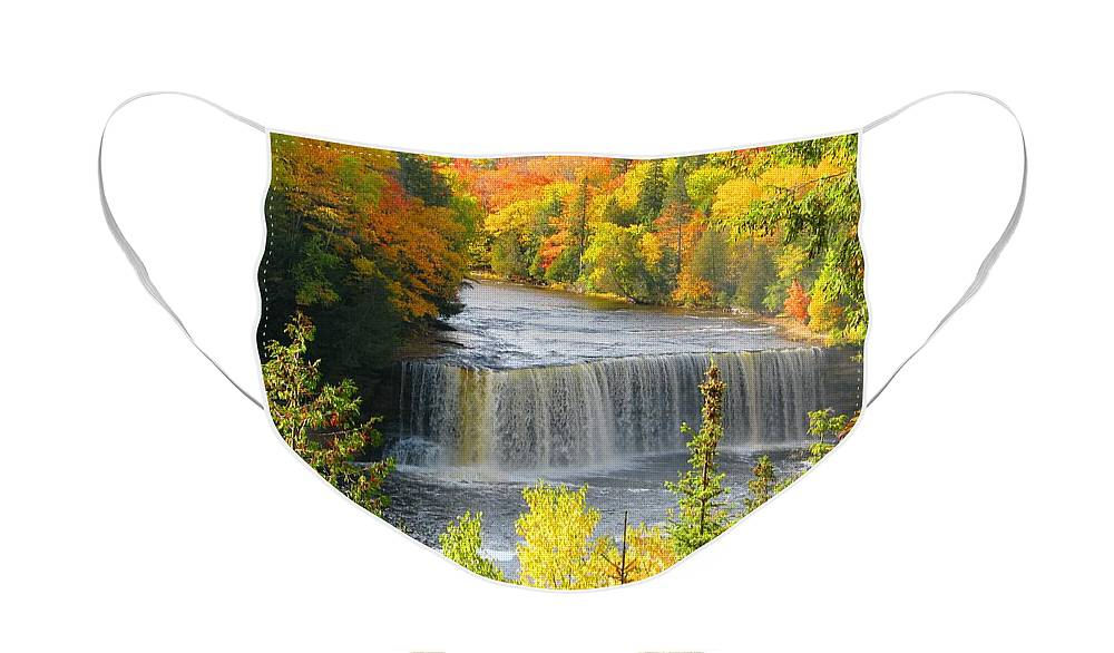 Waterfall Face Mask featuring the photograph Tahquamenon Falls in October by Keith Stokes
