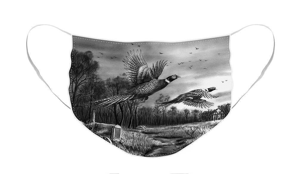 Taking Flight Face Mask featuring the drawing Taking Flight by Peter Piatt