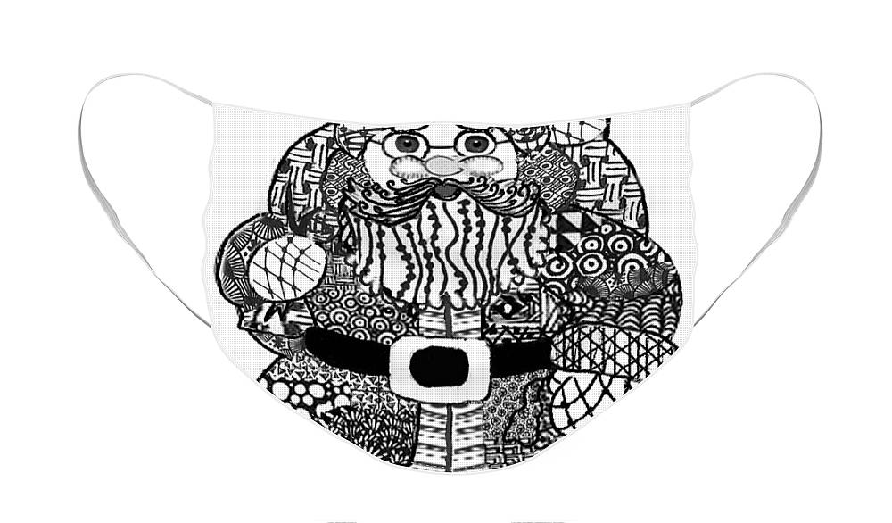 Zentangle Face Mask featuring the digital art Tangled Santa by Quwatha Valentine