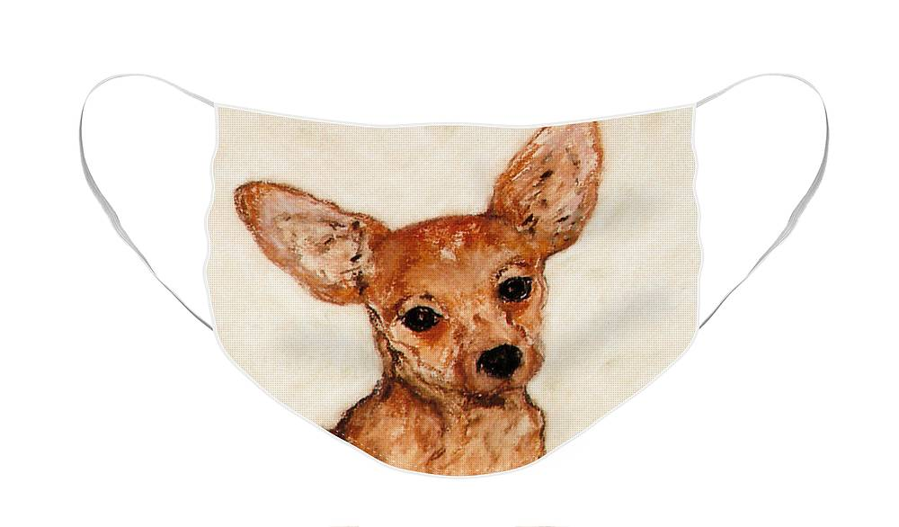 Chihuahua Face Mask featuring the drawing Tavi by Cori Solomon