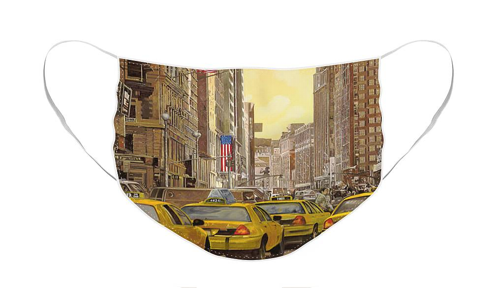 New York Face Mask featuring the painting yellow taxi in NYC by Guido Borelli