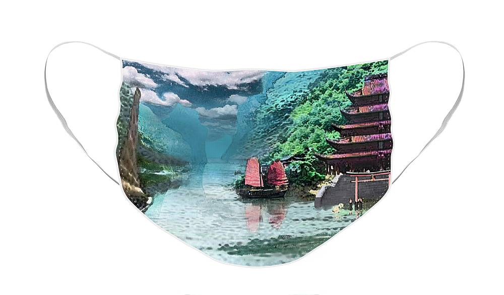 Landscape Face Mask featuring the digital art Temple on the Yangzte by Steve Karol