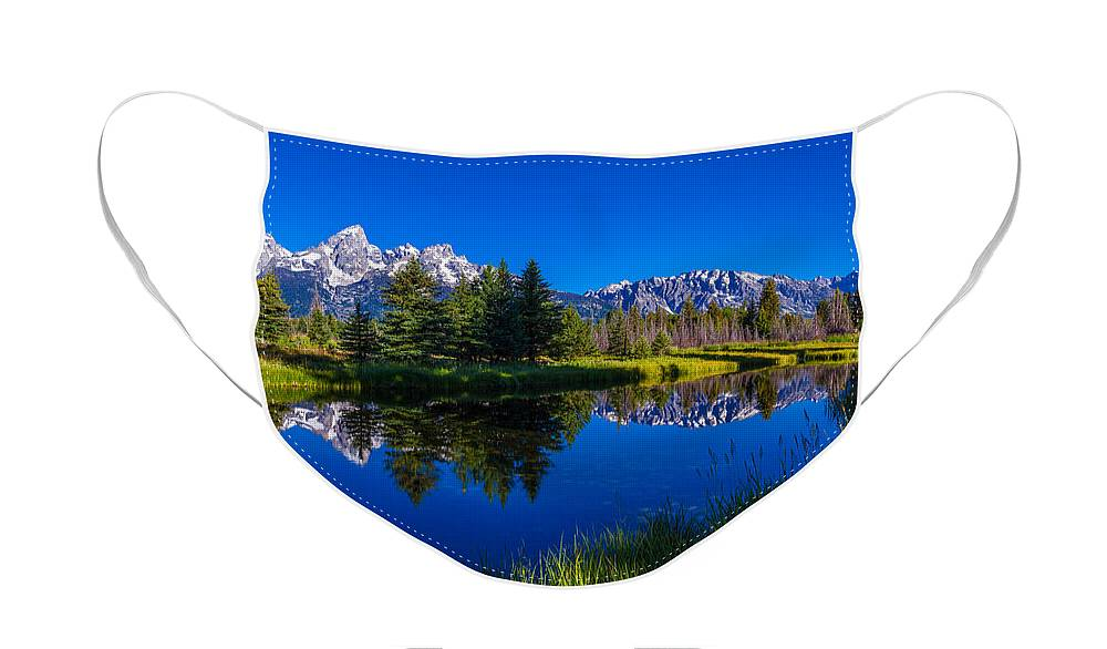 Teton Reflection Face Mask featuring the photograph Teton Reflection by Chad Dutson