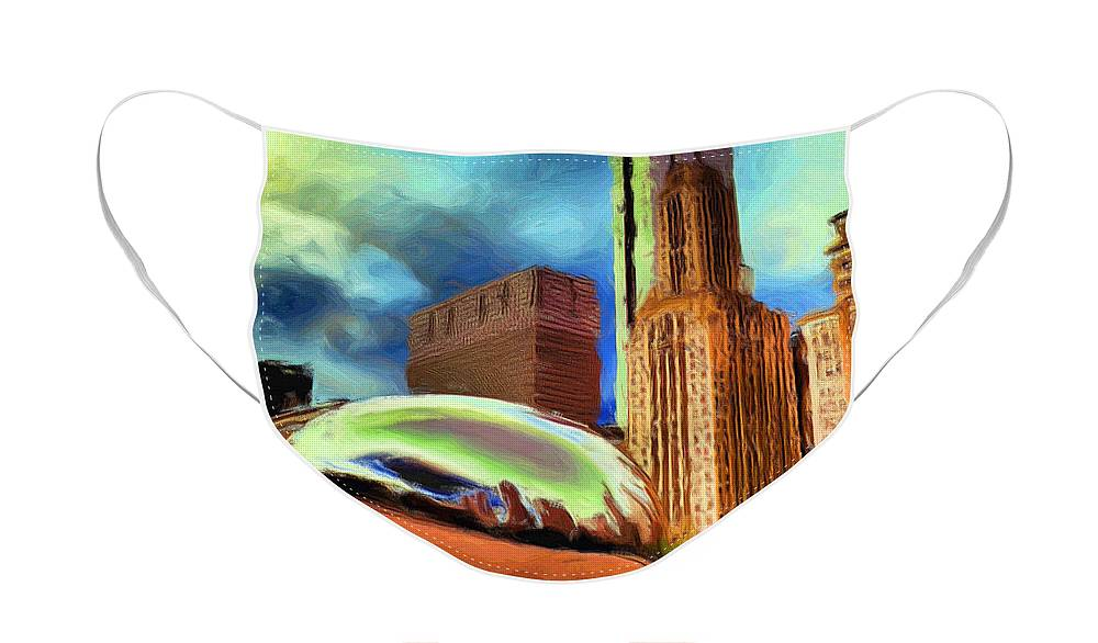 Cloudgate Face Mask featuring the painting The Bean - 20 by Ely Arsha