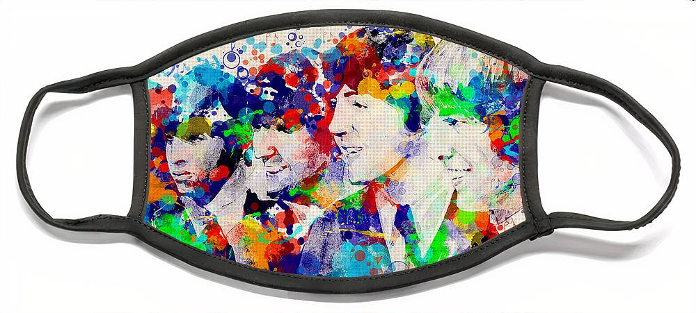 Beatles Face Mask featuring the painting The Beatles 7 by Bekim M
