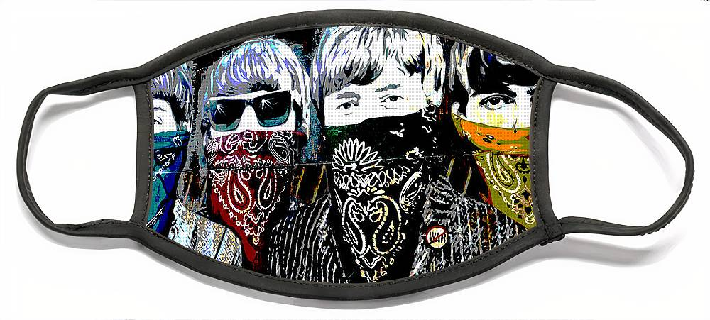 Banksy Face Mask featuring the photograph The Beatles wearing face masks by RicardMN Photography