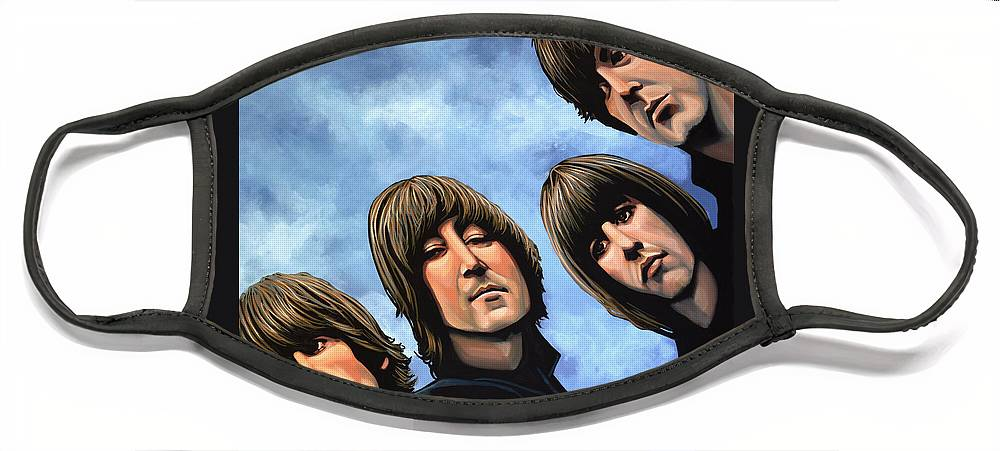 The Beatles Face Mask featuring the painting The Beatles Rubber Soul by Paul Meijering