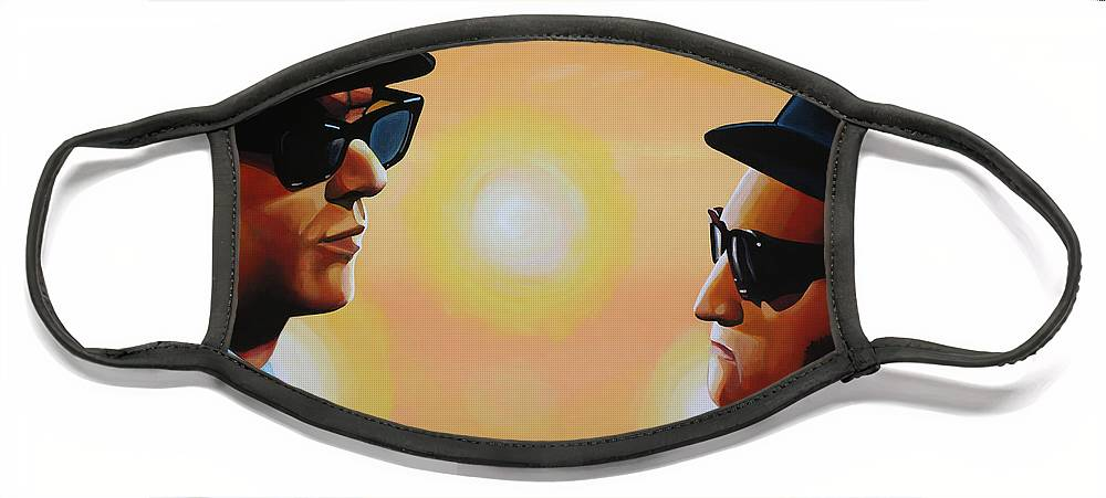 The Blues Brothers Face Mask featuring the painting The Blues Brothers by Paul Meijering