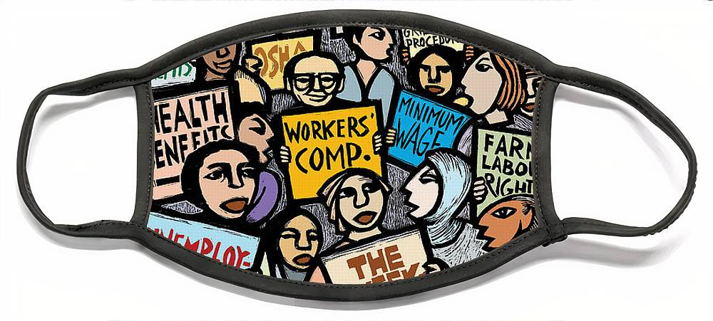 Labor Face Mask featuring the mixed media The Labor Movement by Ricardo Levins Morales
