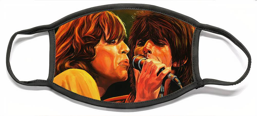 The Rolling Stones Face Mask featuring the painting The Rolling Stones by Paul Meijering