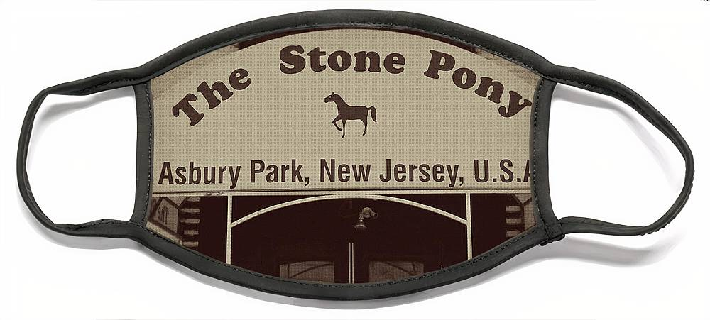 The Stone Pony Vintage Asbury Park New Jersey Face Mask featuring the photograph The Stone Pony Vintage Asbury Park New Jersey by Terry DeLuco