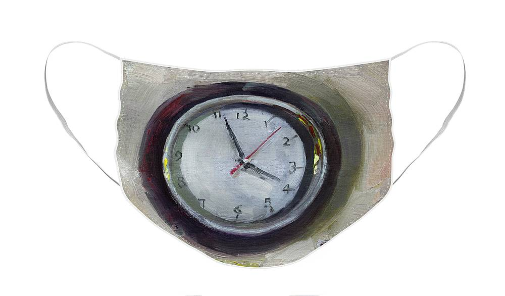 Time Face Mask featuring the painting The Times by Ylli Haruni