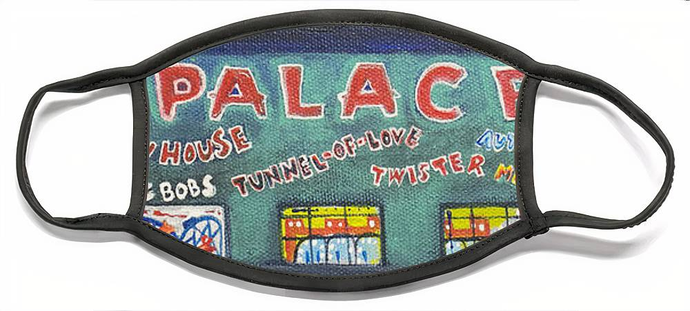 Tillie Of Asbury Park Face Mask featuring the painting The Tiny Tiny Palace by Patricia Arroyo