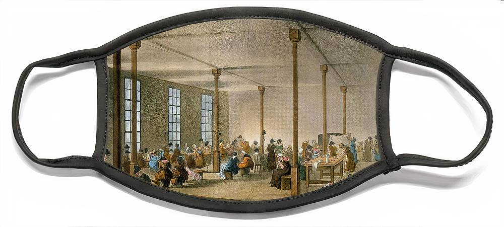 Workhouse Face Mask featuring the drawing The Workhouse, St James, Parish, London by T. & Pugin, A.C. Rowlandson