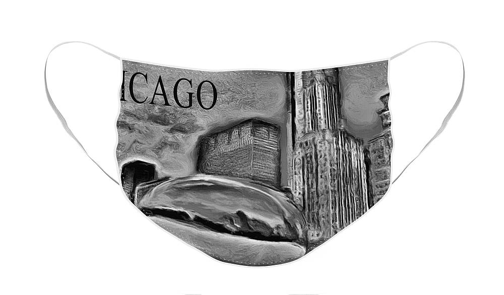 Cloudgate Face Mask featuring the painting This Is Chicago by Ely Arsha