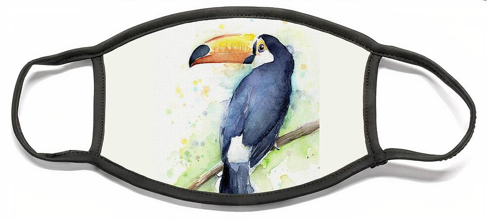 Watercolor Toucan Face Mask featuring the painting Toucan Watercolor by Olga Shvartsur