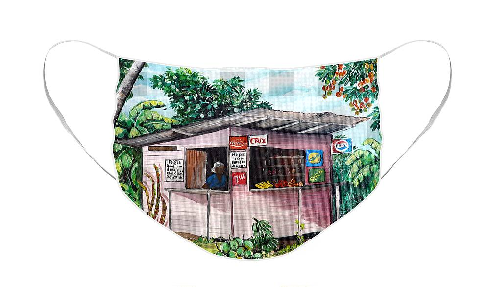Shop Painting Face Mask featuring the painting Trini Roti Shop by Karin Dawn Kelshall- Best