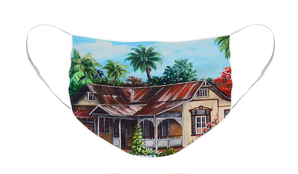 House Face Mask featuring the painting Trinidad House no 1 by Karin Dawn Kelshall- Best