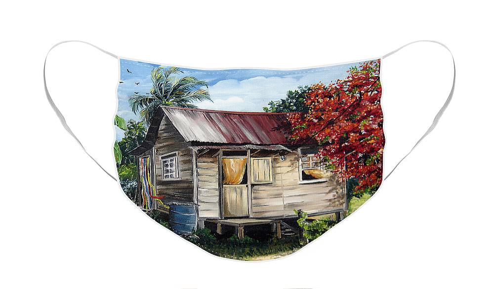 Landscape Paintings Tropical Paintings Trinidad House Paintings House Paintings Country Painting Trinidad Old Wood House Paintings Flamboyant Tree Paintings Caribbean Paintings Greeting Card Paintings Canvas Print Paintings Poster Art Paintings Face Mask featuring the painting Trinidad Life 1 by Karin Dawn Kelshall- Best