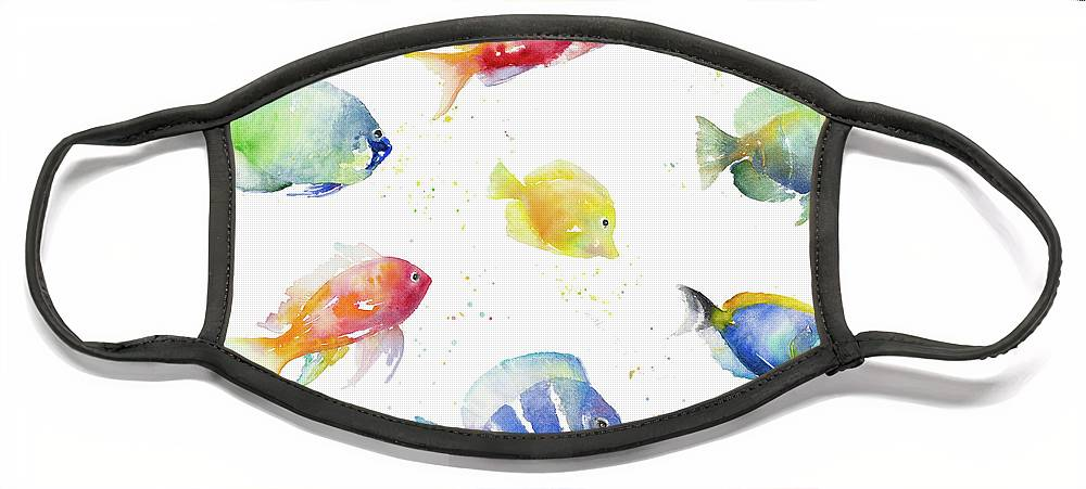 Tropical Face Mask featuring the painting Tropical Fish Round by Lanie Loreth
