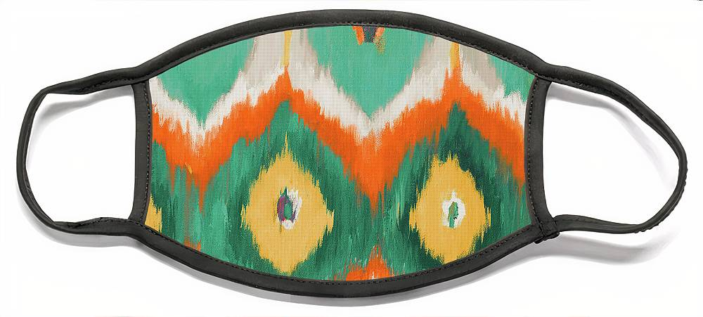 Tropical Face Mask featuring the painting Tropical Ikat II by Patricia Pinto