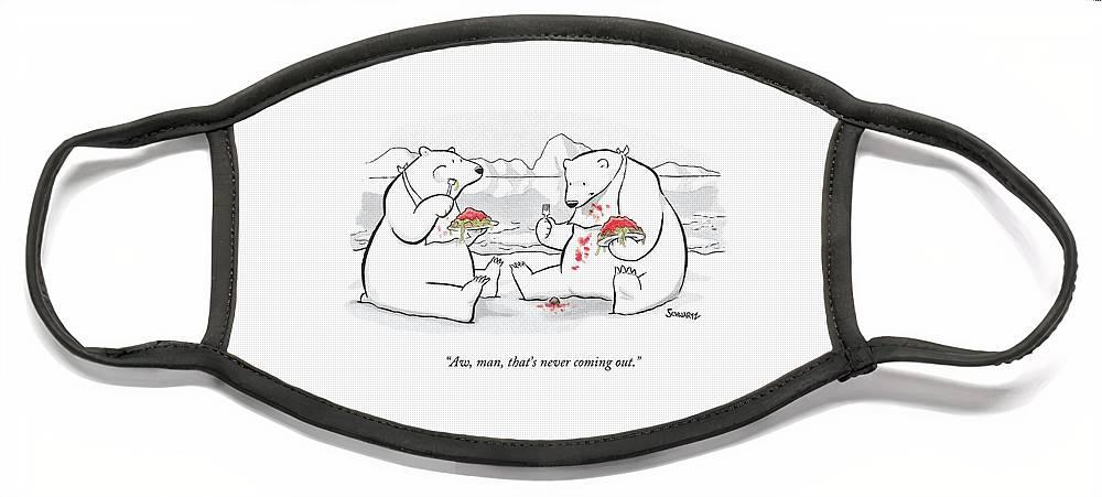 Two Polar Bears Eat Spaghetti And Meatballs.  One Face Mask