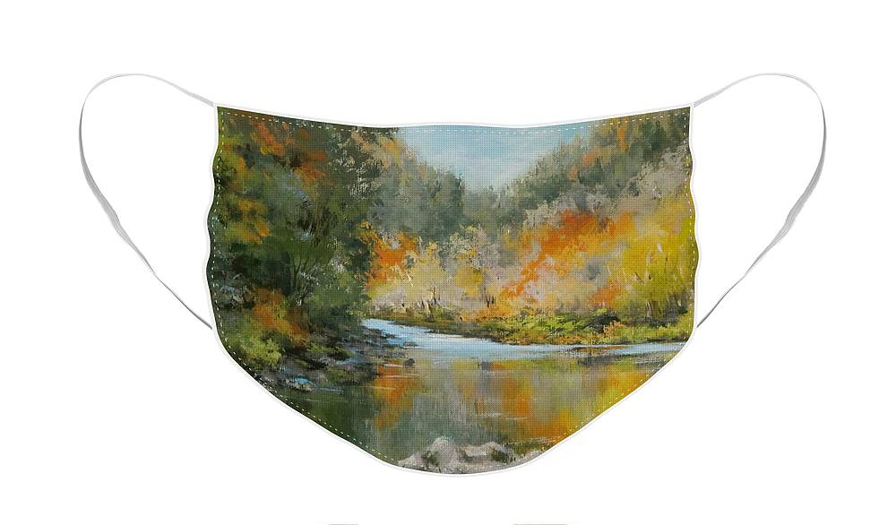 Original Face Mask featuring the painting Umpqua Reflections by Karen Ilari