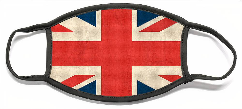 United Kingdom Union Jack England Britain Flag Vintage Distressed Finish London English Europe Uk Country Nation British Face Mask featuring the mixed media United Kingdom Union Jack England Britain Flag Vintage Distressed Finish by Design Turnpike